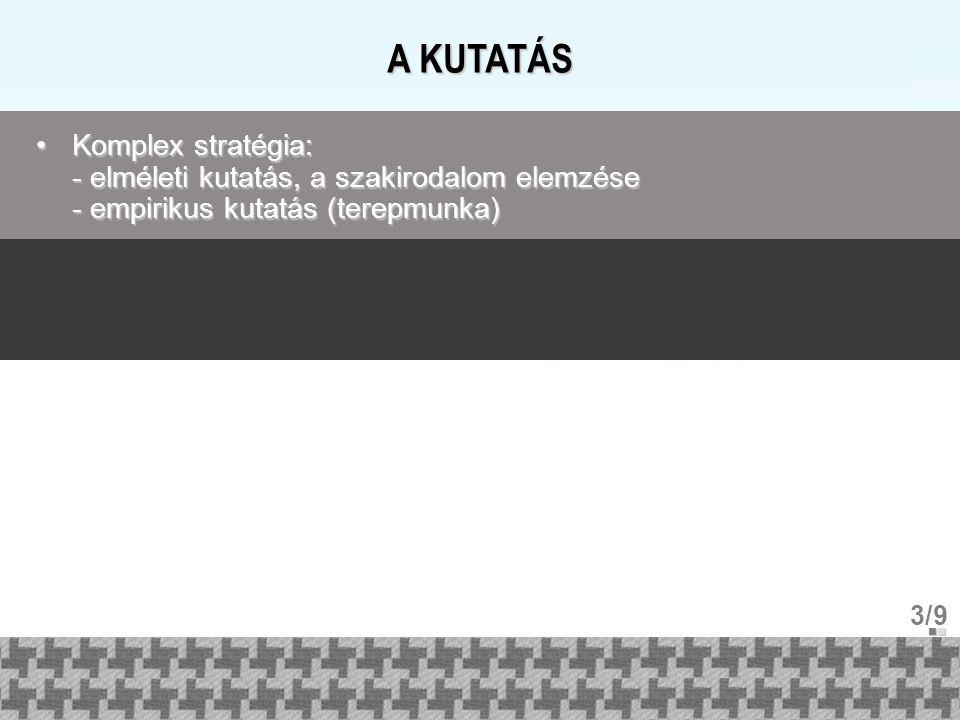 A KUTATÁS Komplex stratégia: - elméleti kutatás, a szakirodalom elemzése - empirikus kutatás (terepmunka)