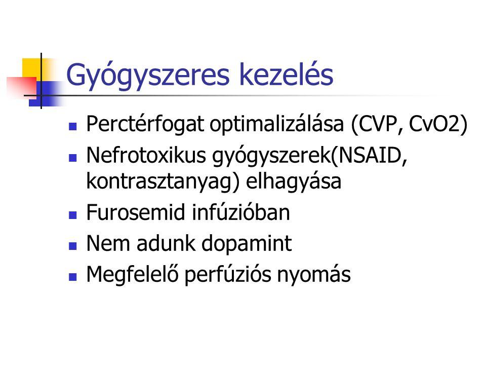 Gyógyszeres kezelés Perctérfogat optimalizálása (CVP, CvO2)