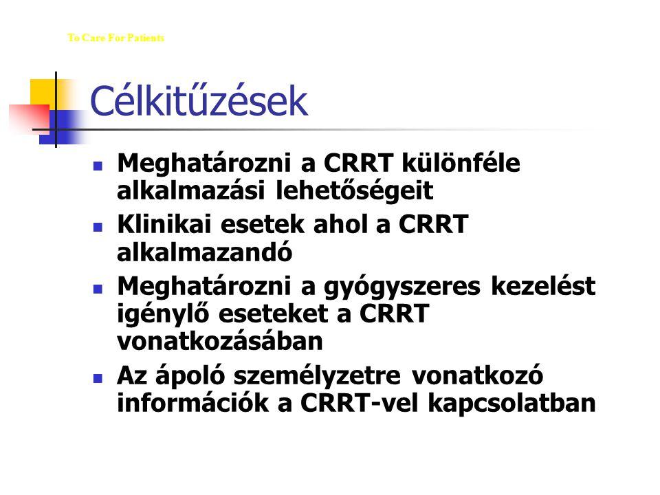 Célkitűzések M Meghatározni a CRRT különféle alkalmazási lehetőségeit