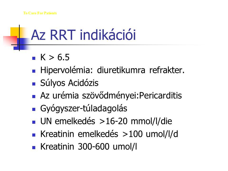 Az RRT indikációi M K > 6.5 Hipervolémia: diuretikumra refrakter.