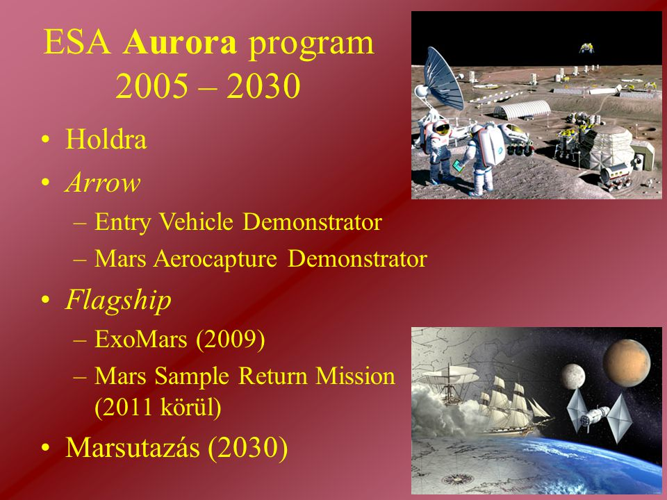 ESA Aurora program 2005 – 2030 Holdra Arrow Flagship Marsutazás (2030)