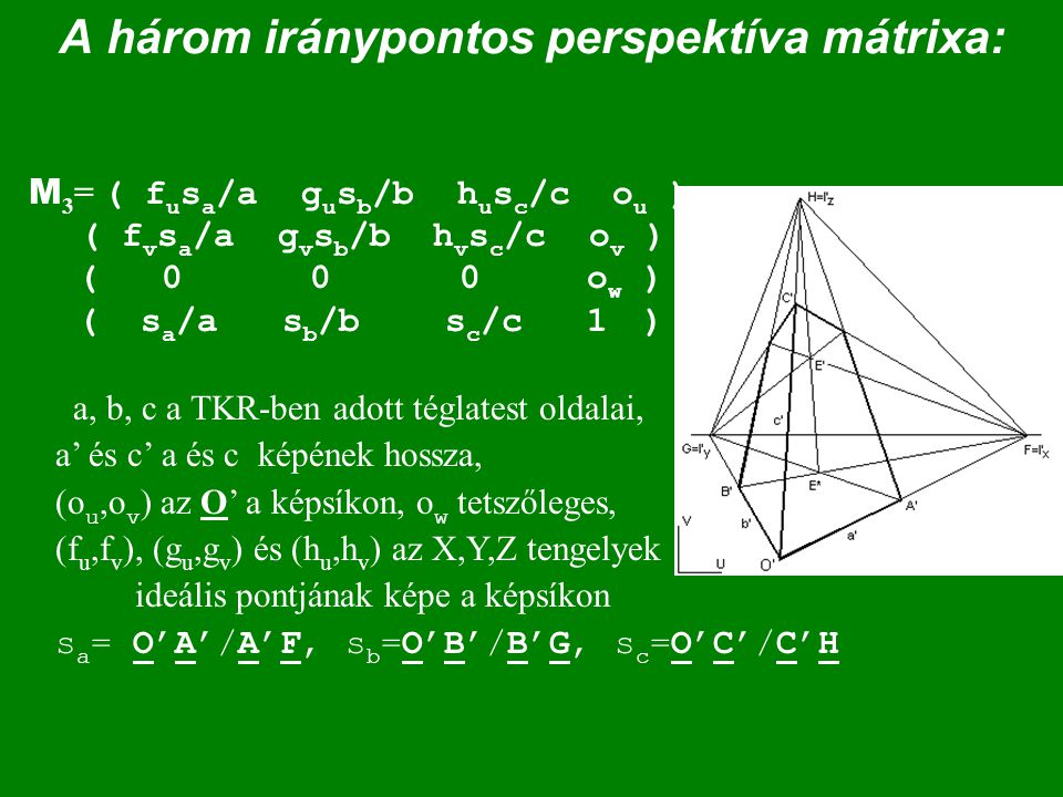 A három iránypontos perspektíva mátrixa: