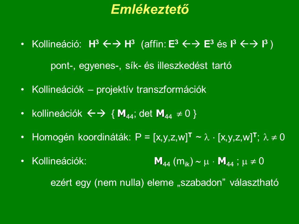 Emlékeztető Kollineáció: H3  H3 (affin: E3  E3 és I3  I3 ) pont-, egyenes-, sík- és illeszkedést tartó.