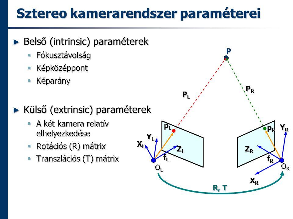 Sztereo kamerarendszer paraméterei