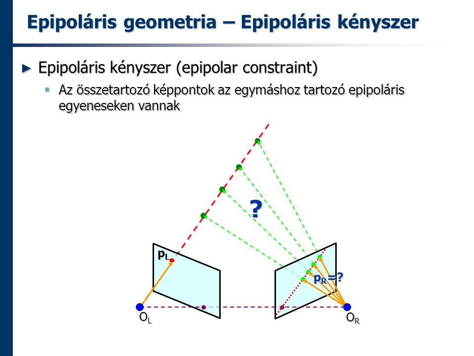 Epipoláris geometria – Epipoláris kényszer