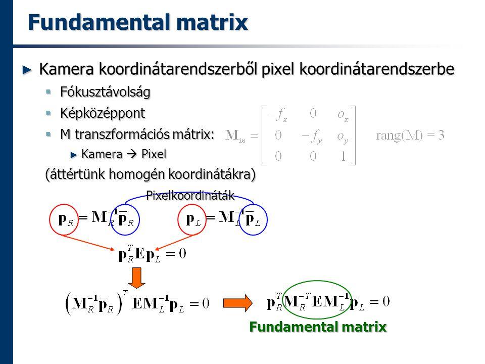 Fundamental matrix Kamera koordinátarendszerből pixel koordinátarendszerbe. Fókusztávolság. Képközéppont.