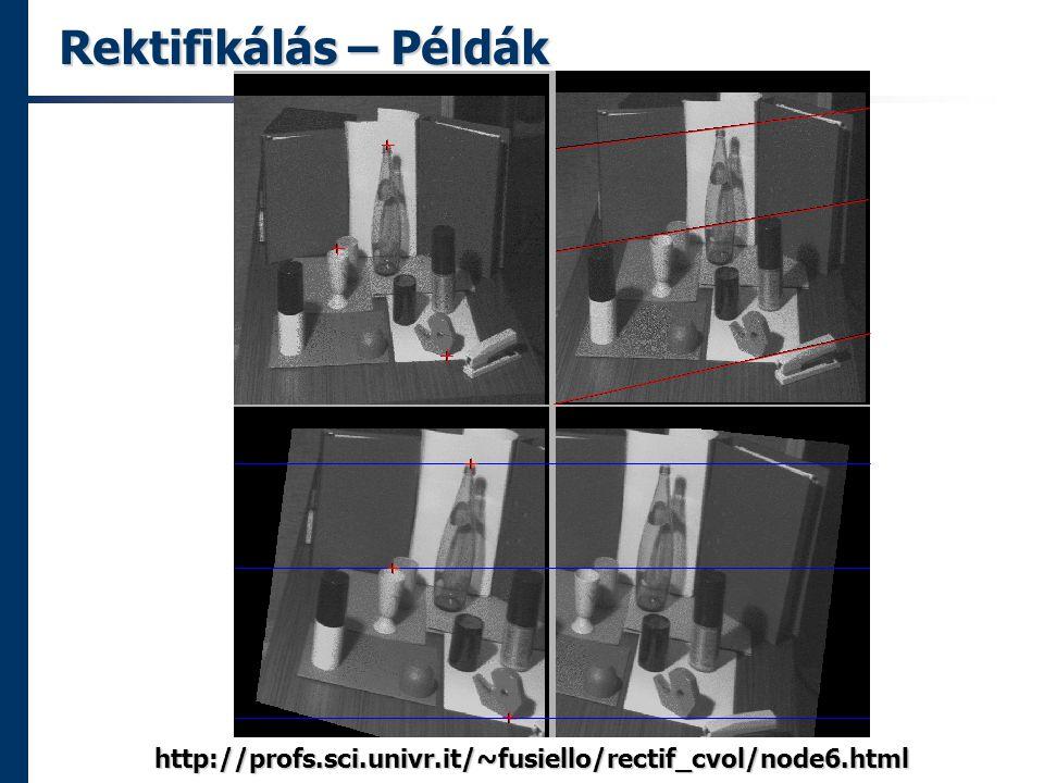 Rektifikálás – Példák http://profs.sci.univr.it/~fusiello/rectif_cvol/node6.html
