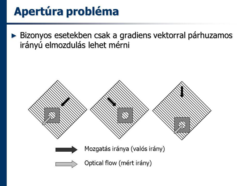 Apertúra probléma Bizonyos esetekben csak a gradiens vektorral párhuzamos irányú elmozdulás lehet mérni.