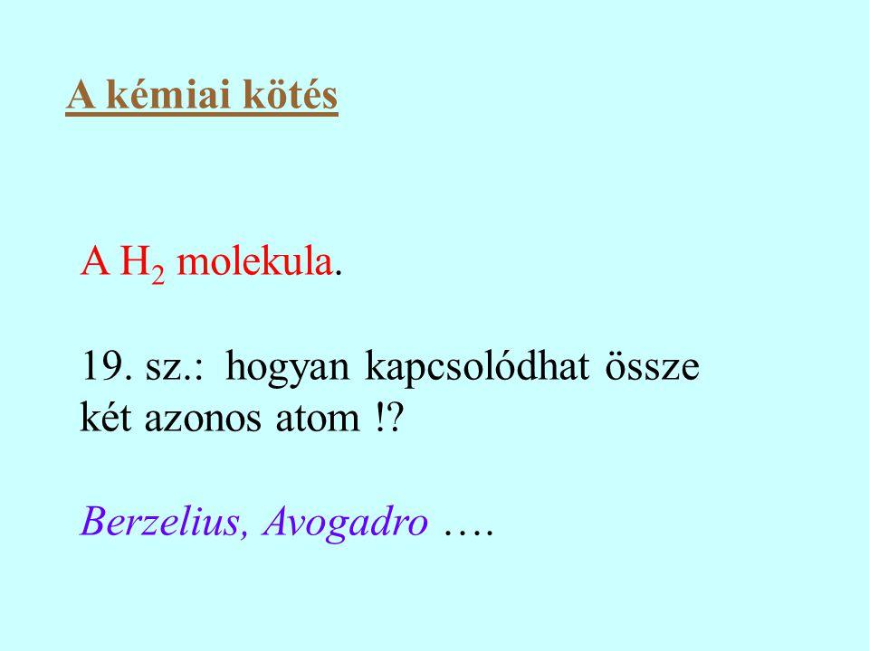 A kémiai kötés A H2 molekula. 19. sz.: hogyan kapcsolódhat össze két azonos atom !.