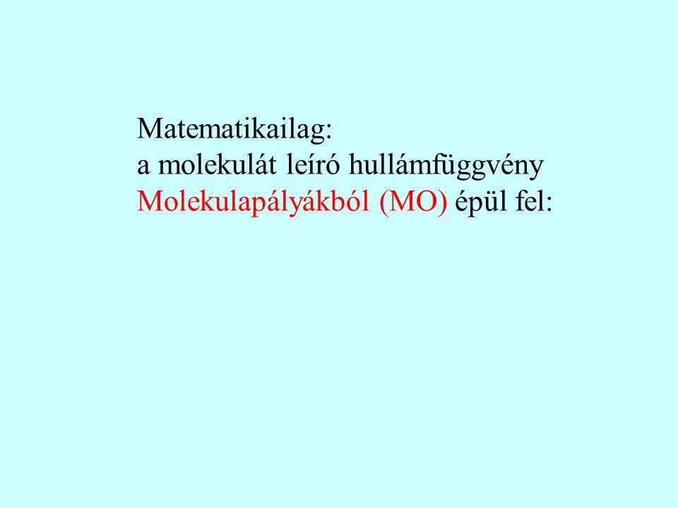 Matematikailag: a molekulát leíró hullámfüggvény Molekulapályákból (MO) épül fel: