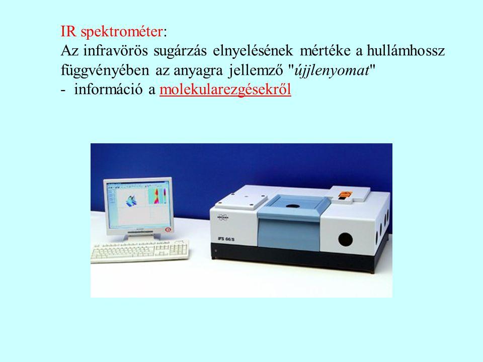 IR spektrométer: Az infravörös sugárzás elnyelésének mértéke a hullámhossz. függvényében az anyagra jellemző újjlenyomat
