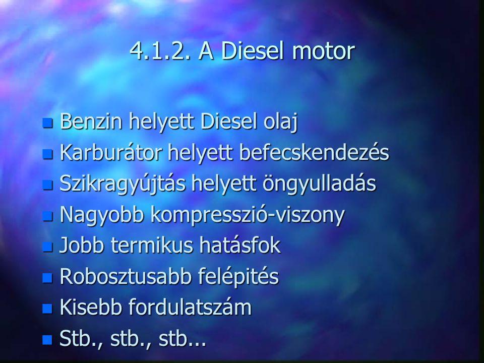 4.1.2. A Diesel motor Benzin helyett Diesel olaj
