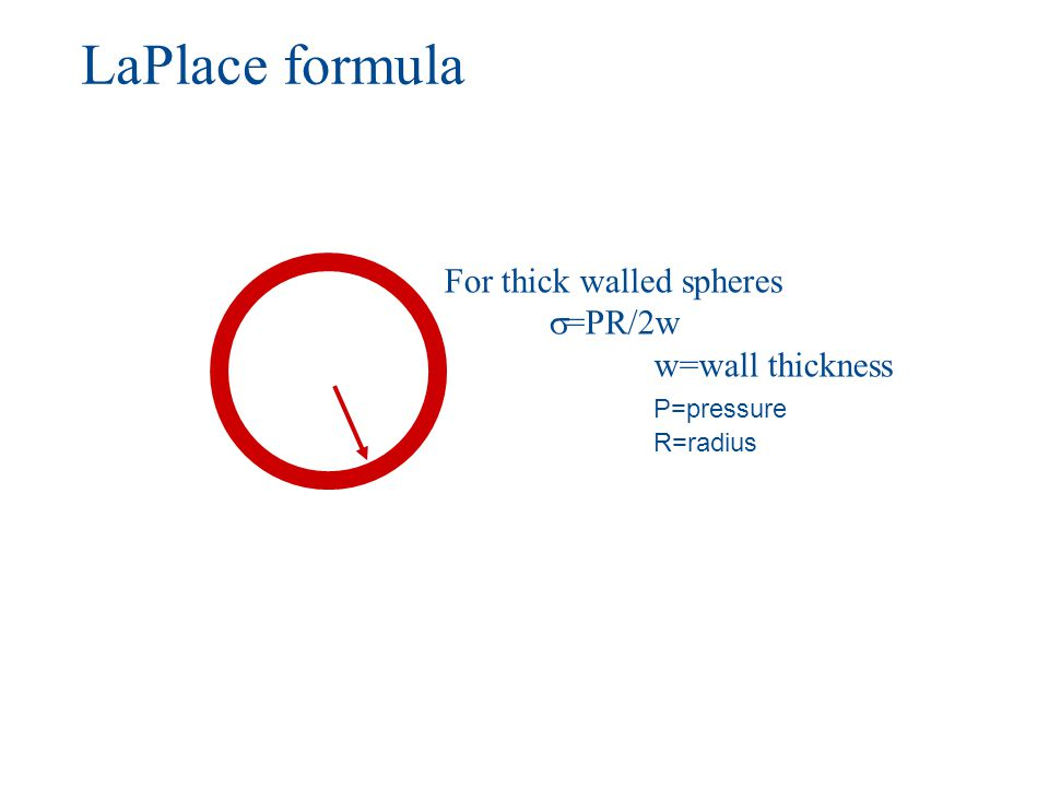 LaPlace formula For thick walled spheres =PR/2w w=wall thickness