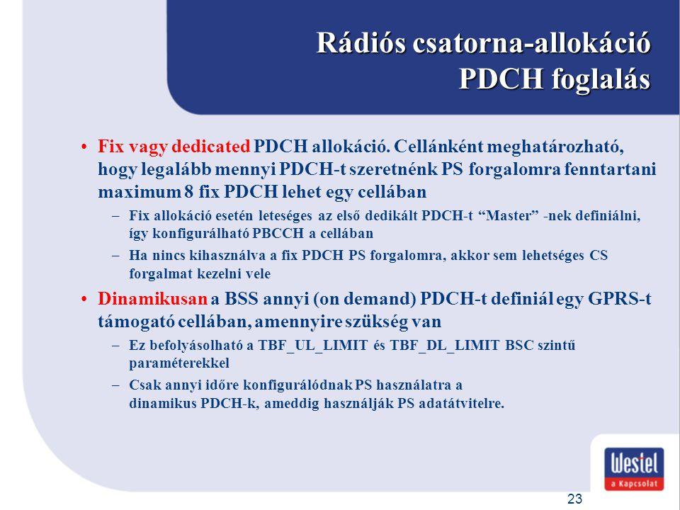 Rádiós csatorna-allokáció PDCH foglalás