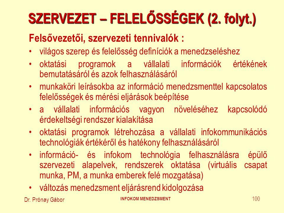 SZERVEZET – FELELŐSSÉGEK (2. folyt.)