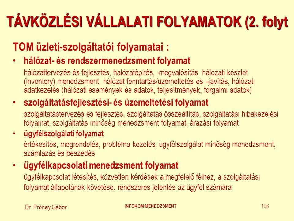 TÁVKÖZLÉSI VÁLLALATI FOLYAMATOK (2. folyt