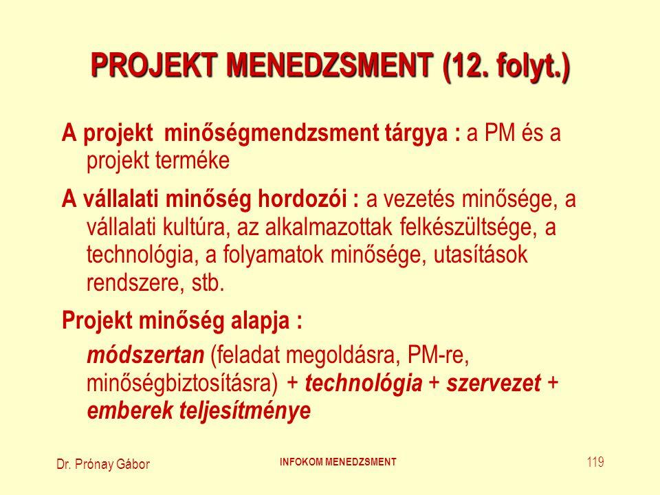 PROJEKT MENEDZSMENT (12. folyt.)