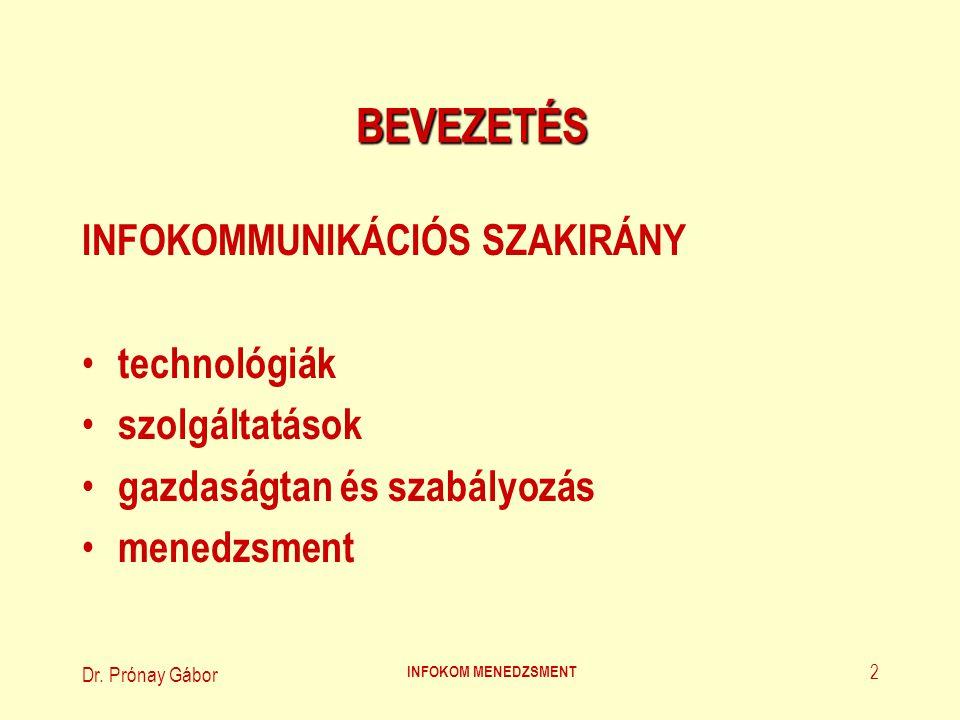 BEVEZETÉS INFOKOMMUNIKÁCIÓS SZAKIRÁNY technológiák szolgáltatások