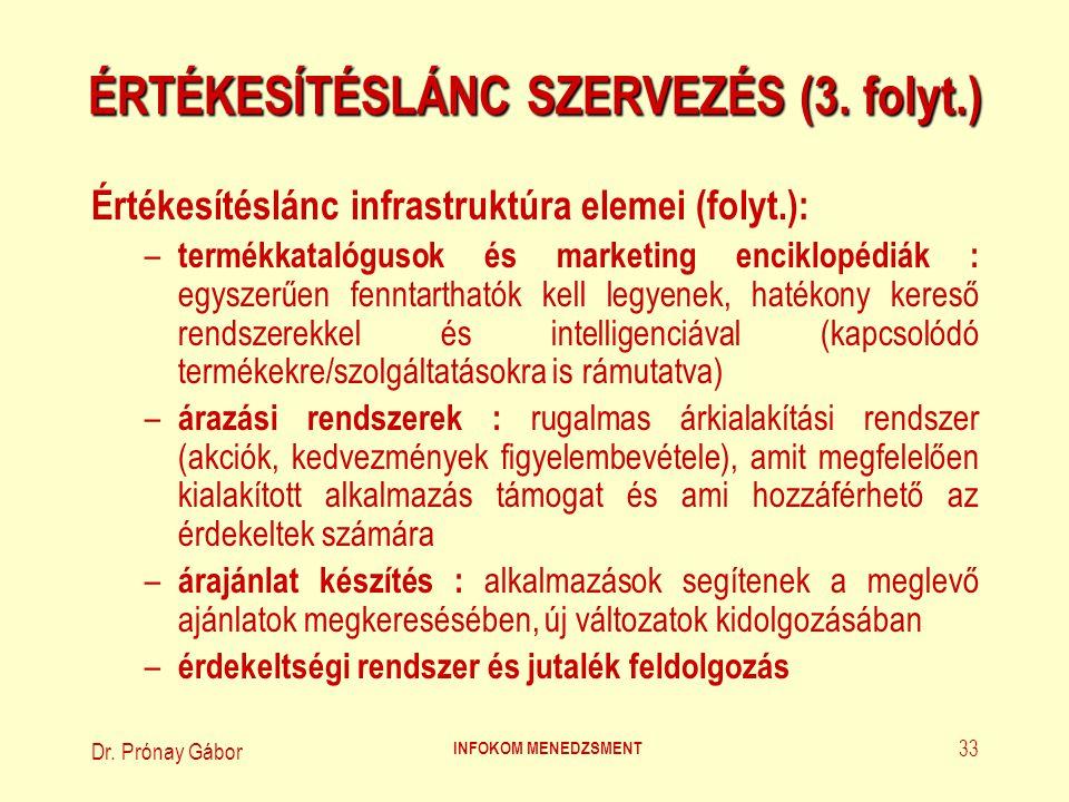 ÉRTÉKESÍTÉSLÁNC SZERVEZÉS (3. folyt.)