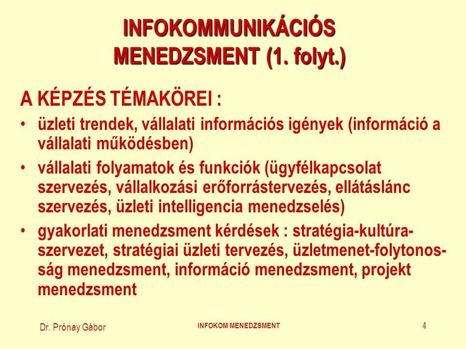 INFOKOMMUNIKÁCIÓS MENEDZSMENT (1. folyt.)
