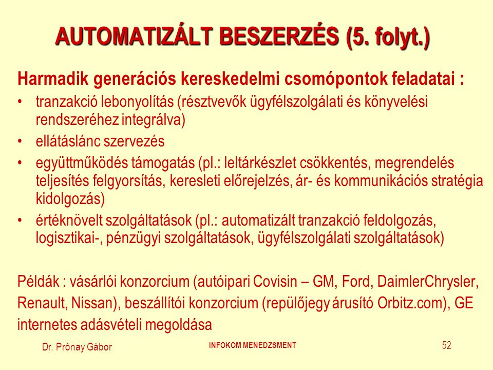 AUTOMATIZÁLT BESZERZÉS (5. folyt.)