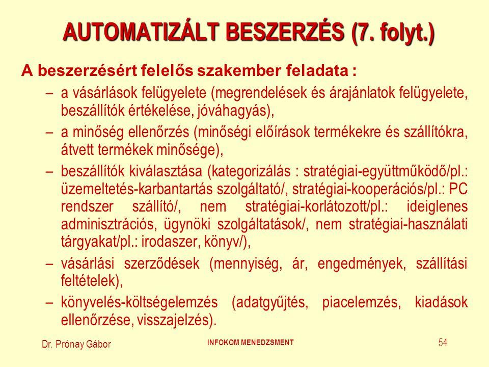 AUTOMATIZÁLT BESZERZÉS (7. folyt.)