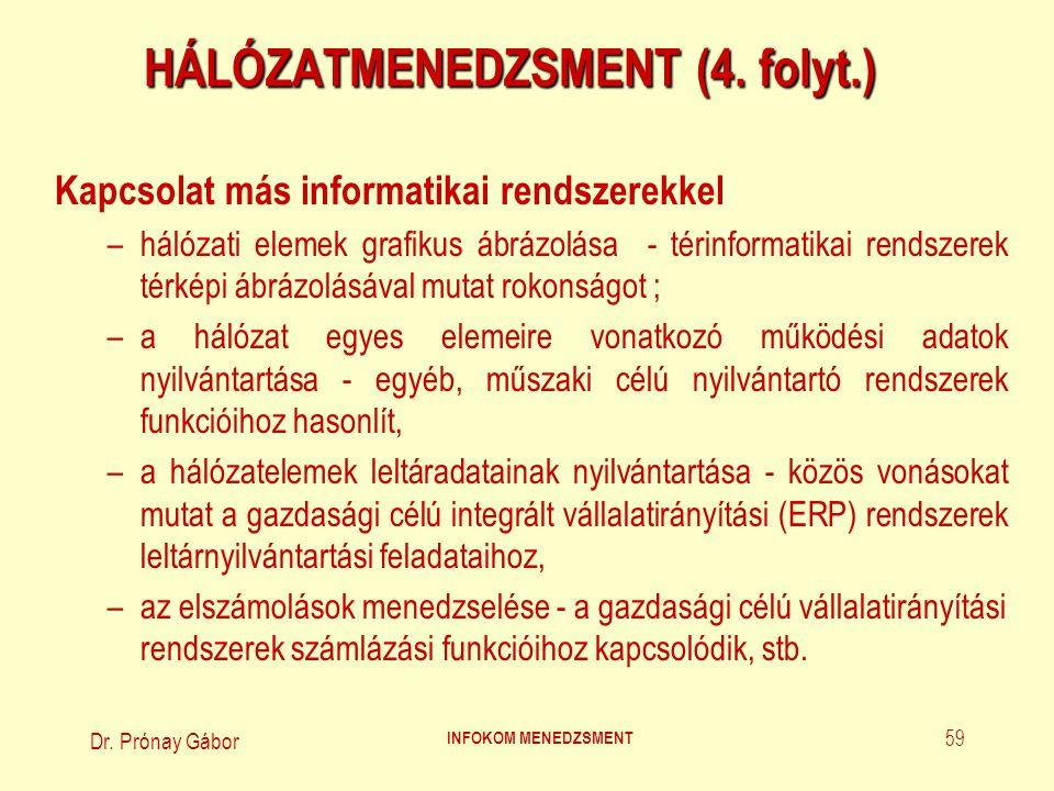 HÁLÓZATMENEDZSMENT (4. folyt.)
