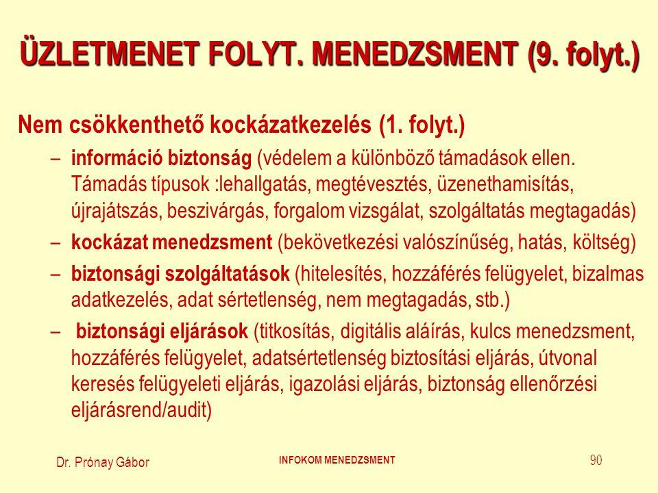 ÜZLETMENET FOLYT. MENEDZSMENT (9. folyt.)