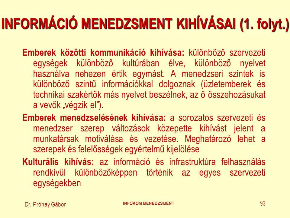 INFORMÁCIÓ MENEDZSMENT KIHÍVÁSAI (1. folyt.)
