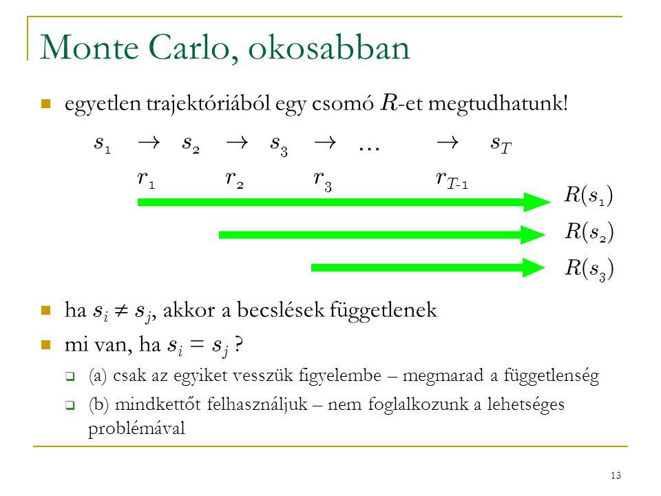 Monte Carlo, okosabban egyetlen trajektóriából egy csomó R-et megtudhatunk! ha si  sj, akkor a becslések függetlenek.