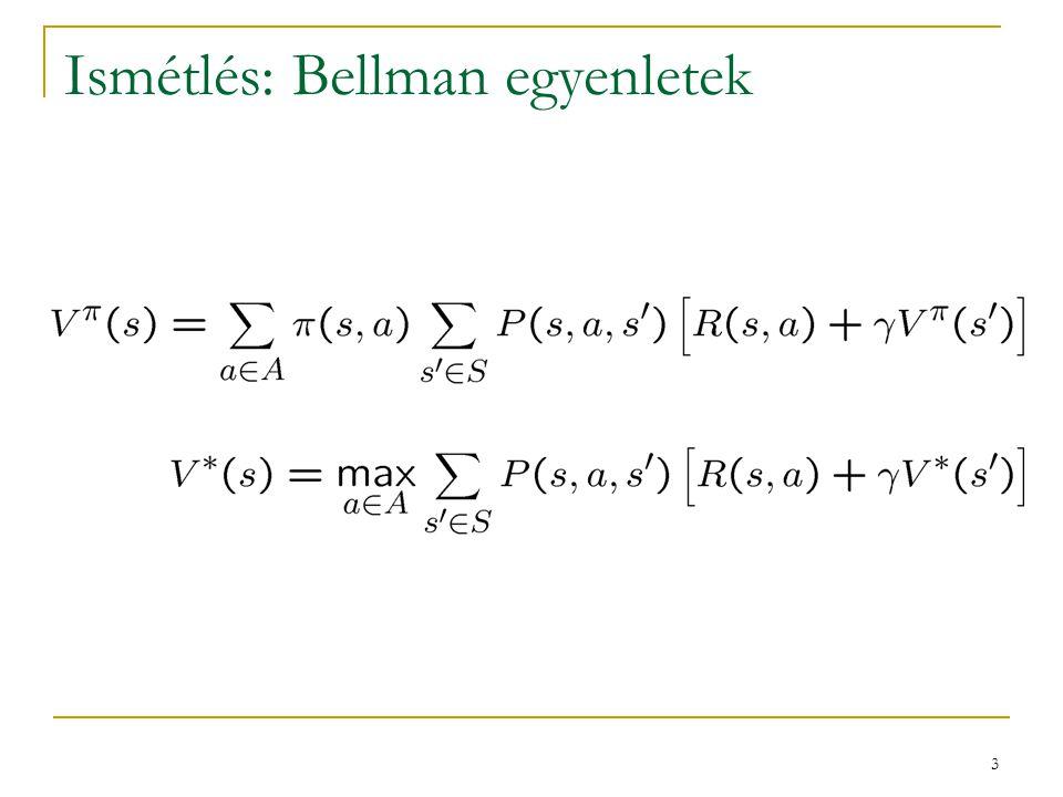 Ismétlés: Bellman egyenletek