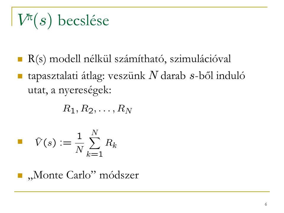 V(s) becslése R(s) modell nélkül számítható, szimulációval