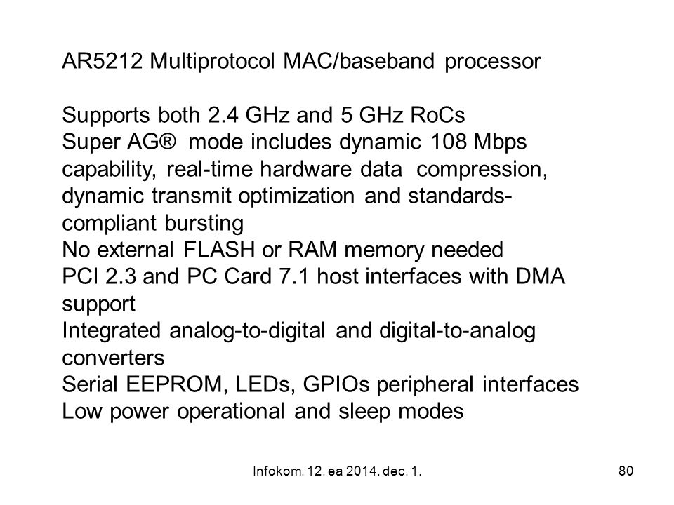 AR5212 Multiprotocol MAC/baseband processor