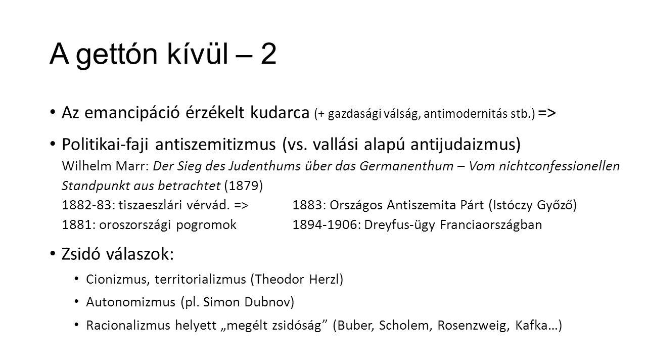A gettón kívül – 2 Az emancipáció érzékelt kudarca (+ gazdasági válság, antimodernitás stb.) =>