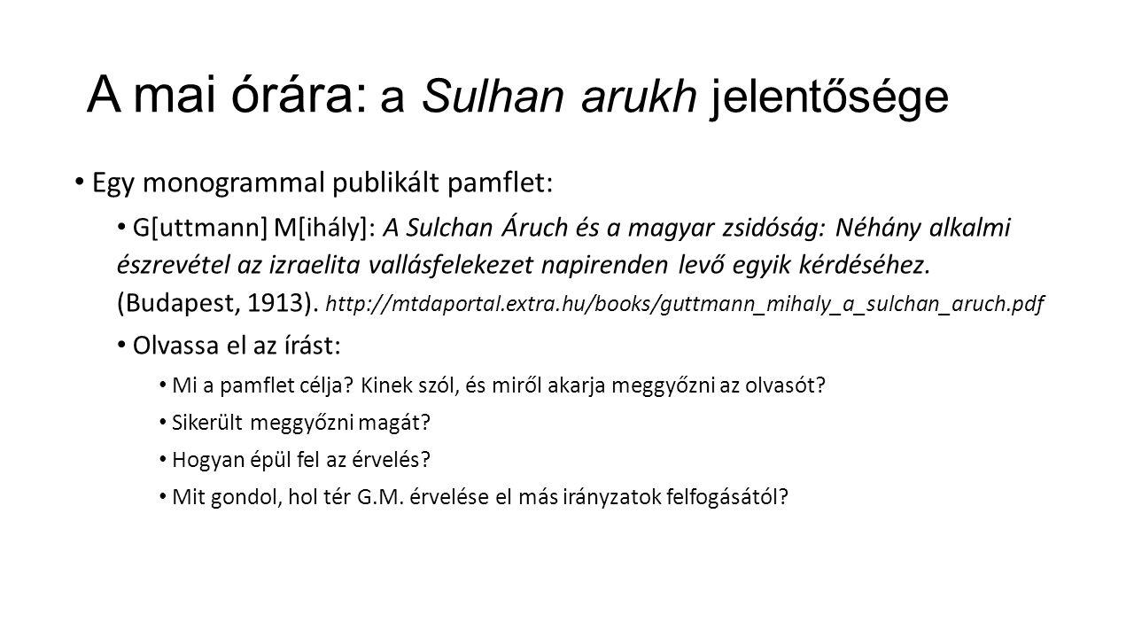 A mai órára: a Sulhan arukh jelentősége