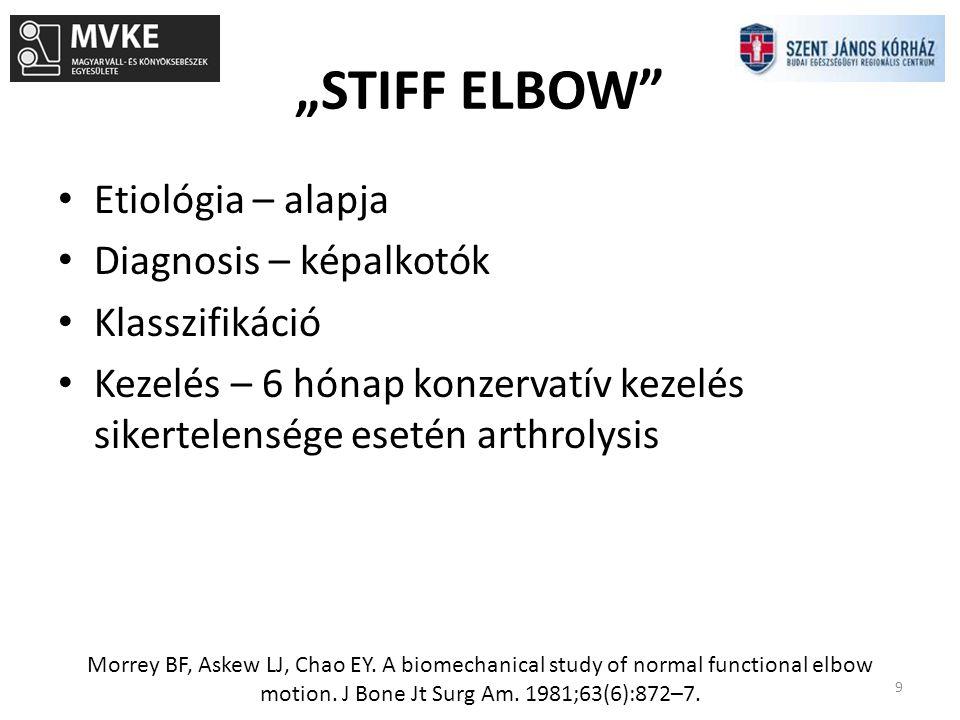 """""""STIFF ELBOW Etiológia – alapja Diagnosis – képalkotók Klasszifikáció"""