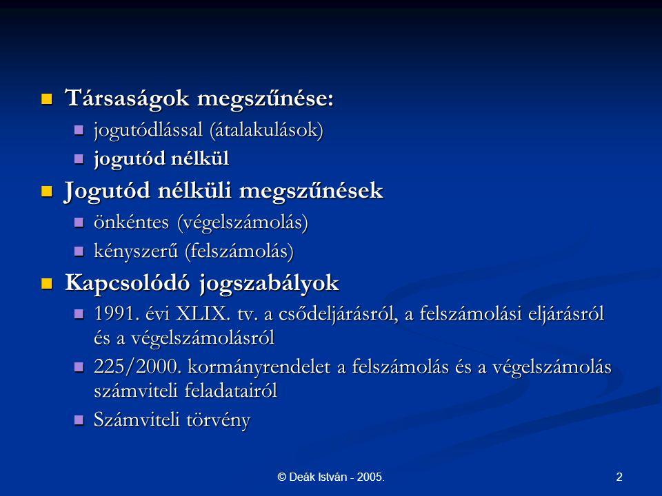 Társaságok megszűnése: