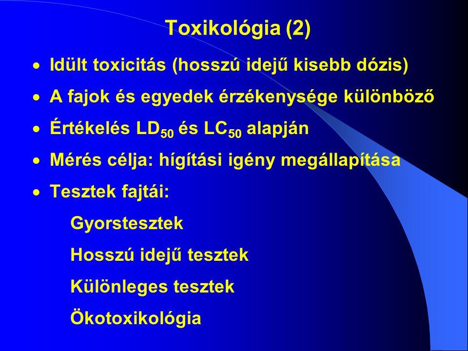 Toxikológia (2) Idült toxicitás (hosszú idejű kisebb dózis)