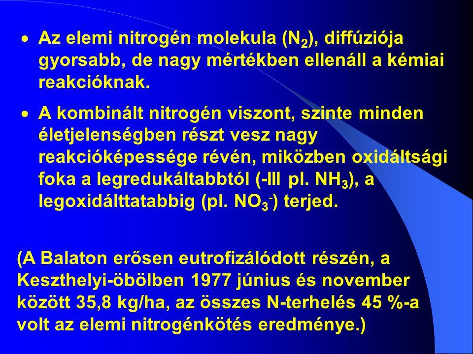 Az elemi nitrogén molekula (N2), diffúziója gyorsabb, de nagy mértékben ellenáll a kémiai reakcióknak.