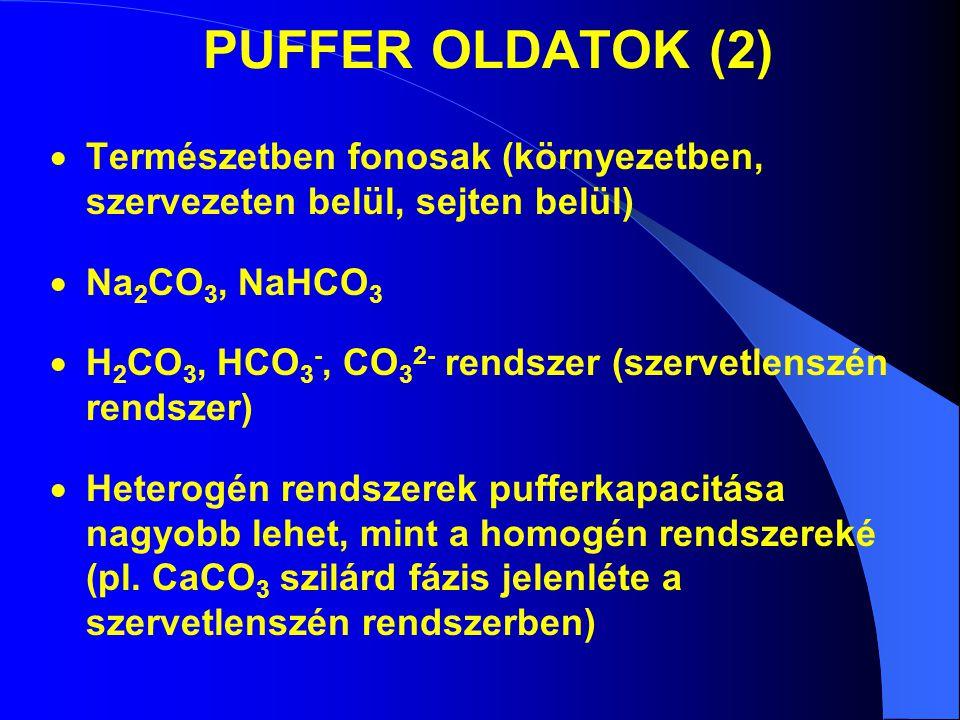 PUFFER OLDATOK (2) Természetben fonosak (környezetben, szervezeten belül, sejten belül) Na2CO3, NaHCO3.