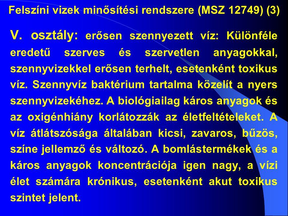 Felszíni vizek minősítési rendszere (MSZ 12749) (3)