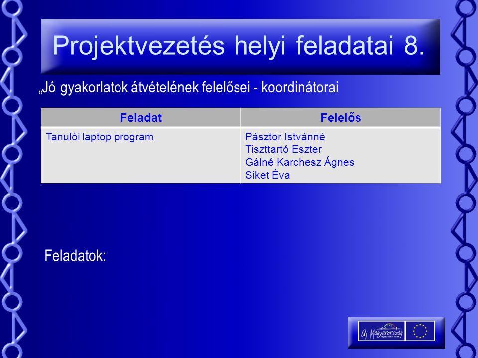 Projektvezetés helyi feladatai 8.