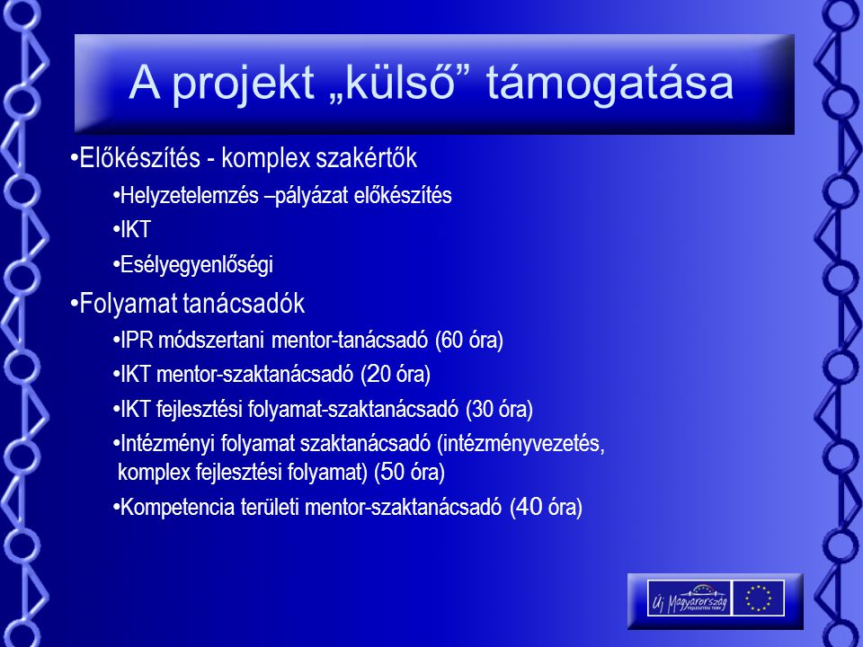 """A projekt """"külső támogatása"""