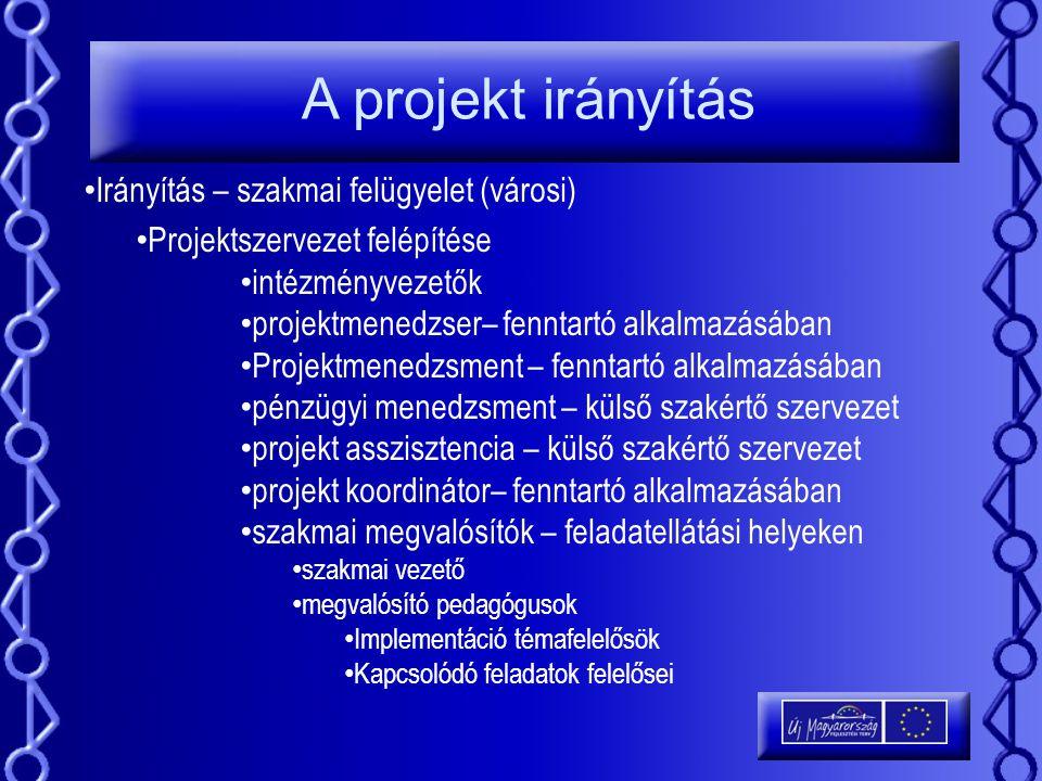 A projekt irányítás Irányítás – szakmai felügyelet (városi)