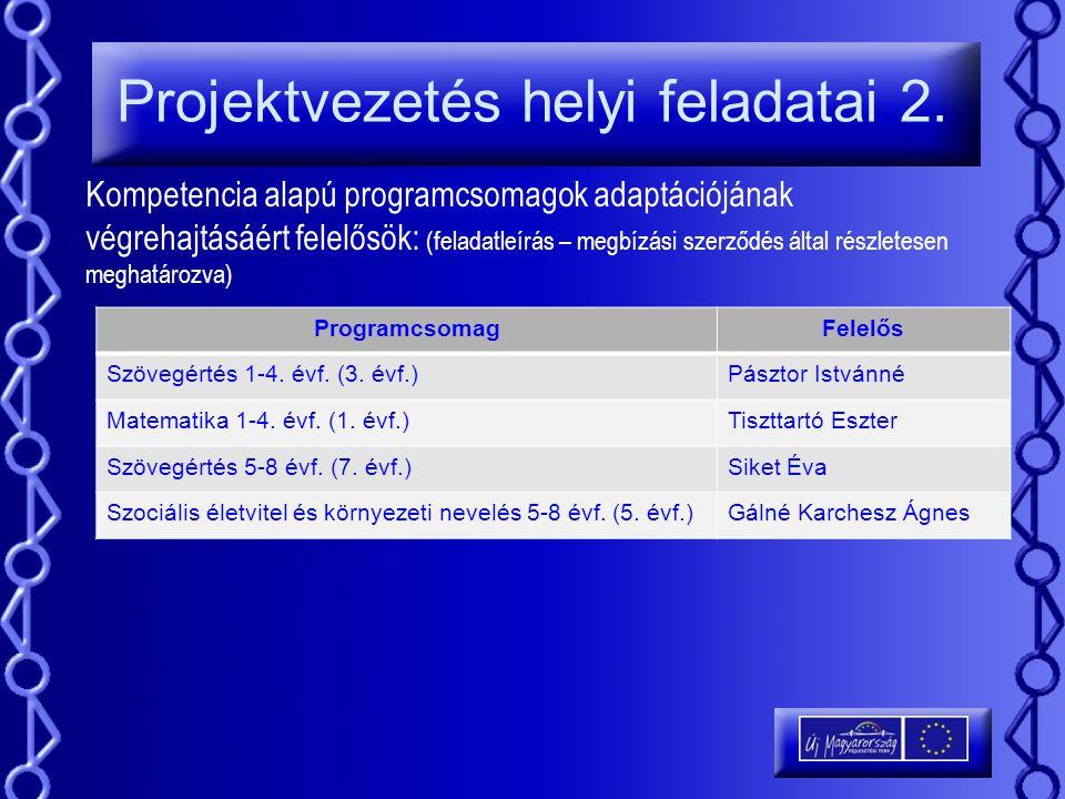 Projektvezetés helyi feladatai 2.