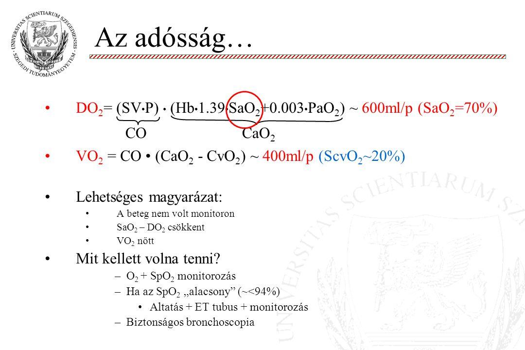 Az adósság… DO2= (SV•P) • (Hb•1.39•SaO2+0.003•PaO2) ~ 600ml/p (SaO2=70%) VO2 = CO • (CaO2 - CvO2) ~ 400ml/p (ScvO2~20%)