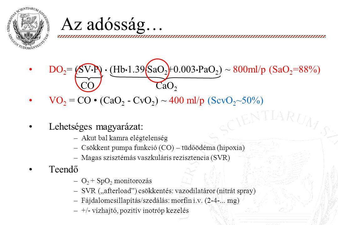Az adósság… DO2= (SV•P) • (Hb•1.39•SaO2+0.003•PaO2) ~ 800ml/p (SaO2=88%) VO2 = CO • (CaO2 - CvO2) ~ 400 ml/p (ScvO2~50%)