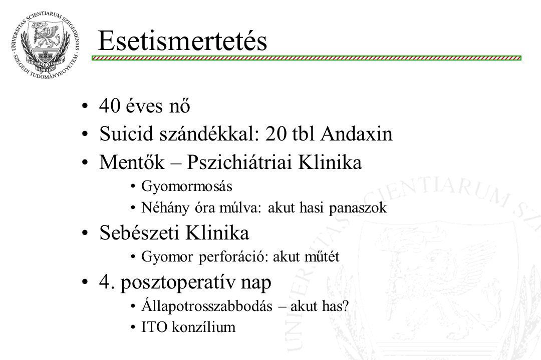 Esetismertetés 40 éves nő Suicid szándékkal: 20 tbl Andaxin