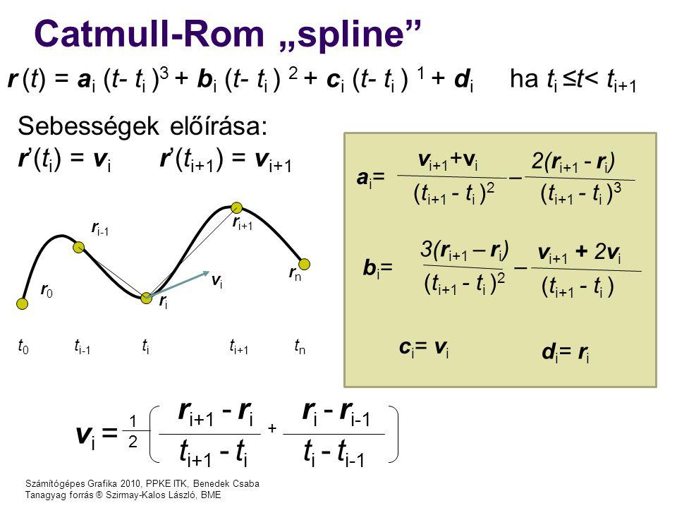 "Catmull-Rom ""spline ri+1 - ri ri - ri-1 vi = ti+1 - ti ti - ti-1"