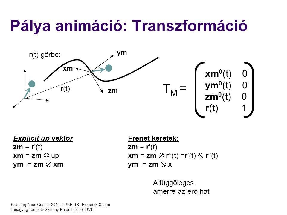 Pálya animáció: Transzformáció